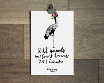 2018 illustrated wall calendar - wild animals- 6 x 9 - animal calendar -illustrated animals- animal art