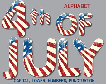 Digital retro 4 th of July Patriotic Alphabet for scrapbooking, Papercrafts, Decor, clipart, Printable Lettering,Instant Download, #72