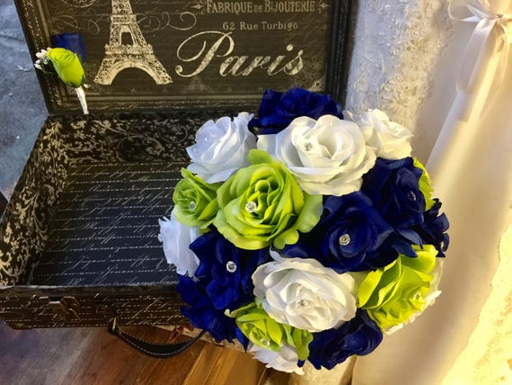 Royal blue lime white rose wedding bouquet silk flower set mightylinksfo Images