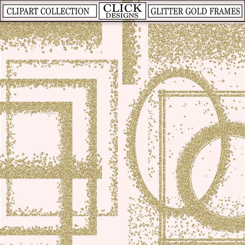 GLITTER GOLD FRAMES ClipArt: Printable Glitter Gold Confetti frames ...