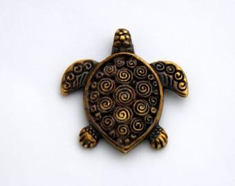 1 Mykonos Sea Turtle Two Sided Pendant - Antique Brass Greek Casting - 29 mm