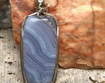 Blue Lace Agate Wire Wrapped Pendant / Blue Lace Agate and Sterling Silver Pendant / Blue Lace Agate Cabochon / Natural Stone Pendant