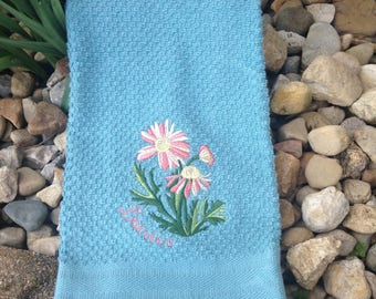 Embroidered Daisies hand or kitchen towel