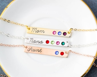Mom Necklace Custom Name Gift Mom Birthstone Necklace • Mommy Jewelry Aunt Gift Kids Nana Necklace Birthstone Bar Necklace BS_18