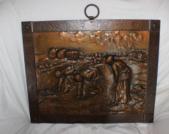 Vintage Hand Crafted Embossed Copper Fire Screen Harvesting Scene