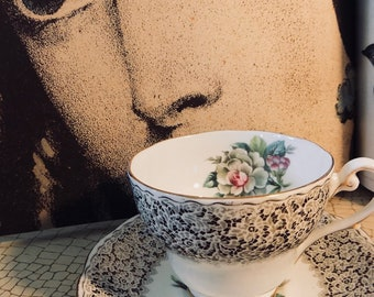 Bone China ROYAL STANDARD KEEPSAKE  teacup and saucer handpainted gold detail Bone China Tea cup saucer for afternoon tea black white sale