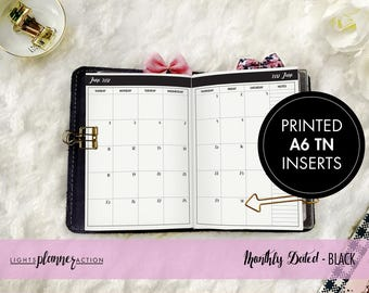 Dated Monthly Travelers Notebook | Monthly Planner Insert | No3/A6 TN Inserts