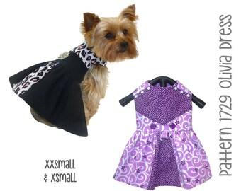 Olivia Dog Dress Pattern 1729 * Dog Dresses * Dog Clothes * Pet Clothes * Dog Clothes Patterns * Small Dog Clothes * Dog Gifts * XXSm & XSm