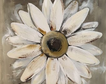 Daisy Painting on a Wood Panel Original Flower Art Distressed