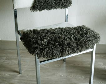 Chair in shiny khaki faux fur and raw canvas - stainless steel feet