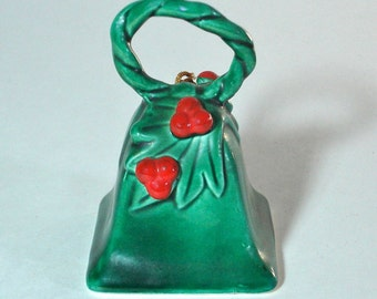 Vintage Lefton's Japanese Pottery Bell Holly Leaves and Berries