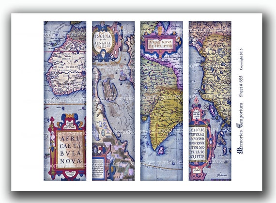 Old map bookmarks antique world book marks for travel book gumiabroncs Gallery