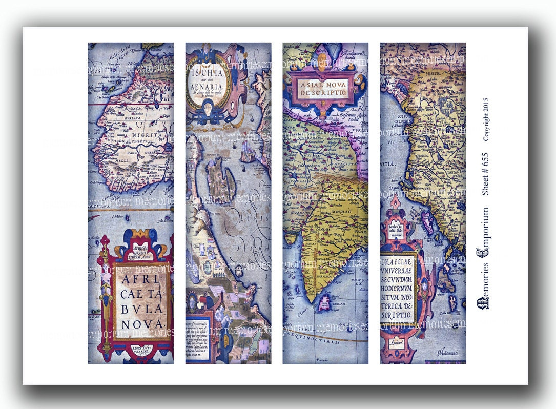 Old map bookmarks antique world book marks for travel book zoom gumiabroncs Choice Image