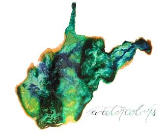 Gemstone West Virginia State Print