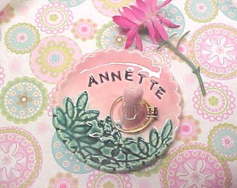 Unique Gift for Girl Friend, Wife or Mom, Personalized Ring Dish, Stamped Name RingDish, Jewelry Holder, Pottery Trinket Dish, Engraved Name