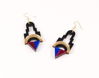 Geometric Perspex Statement Earrings - Gold, Red, Blue FORM_001