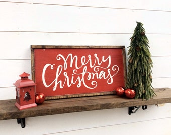 Merry Christmas Sign Merry Christmas Wood Sign Christmas Sign