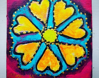 Mother's day Flower abstract miniature art painting