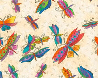 Laurel Burch Fabric Dragonflies Ivory Metallic Flying Colors II 1/2 Yard