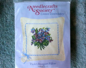 Vintage Needlecrafts Society Crewel Embroidery Pillow Kit Violet Bouquet Pillow Crewel Pillow Flower Pillow  h16