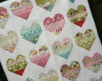 PDF Quilt Pattern, Jelly Roll Pattern, Modern Quilt Pattern, Easy Quilt Pattern, Baby Quilt Pattern, 5 sizes Baby to King - Take Heart