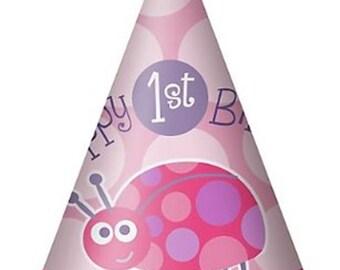 1st Birthday Girl Ladybug Cone Hats 8ct