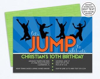 Trampoline Invitation, Trampoline Party Invitation, Trampoline Birthday Invitations, Trampoline Party, Trampoline Invite,Jump Invitation 271