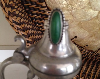 Vintage deep green turquoise and silver ring