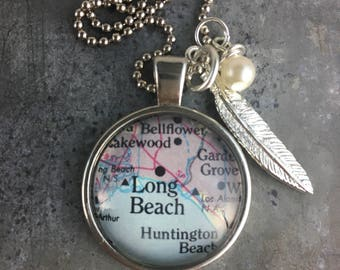 Map Pendant Necklace Long Beach California CA