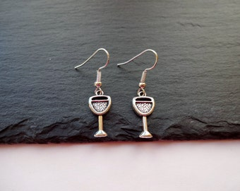 Wine Glass Earrings, Charm earrings, Silver Earrings, Wine Jewellery