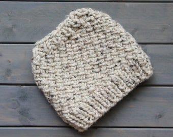 READY TO SHIP Messy Bun Hat, Knit Ponytail Hat, Running Headband, Running Hat, Oatmeal
