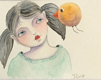 Original, Watercolor, Illustration, Little Girl, Bird, A Little Birdie told Me