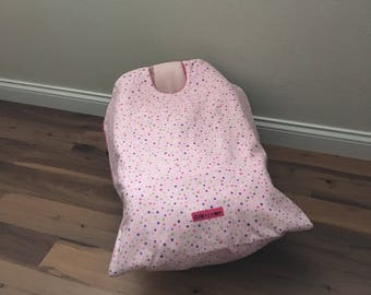Car Seat Blanket, car seat cover,Pink Polka Dot Snug L Bee, baby blanket, winter travel, baby shower gift, baby carrier blanket, girl winter