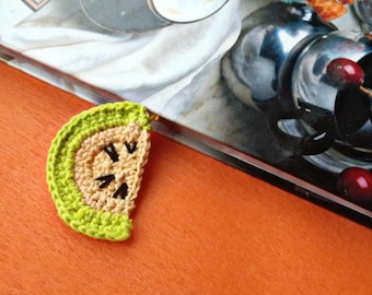Crochet bookmark Apple green teacher gift paper clip office gift ideas daily planner accessories handcrafted knitted souvenir pattern book