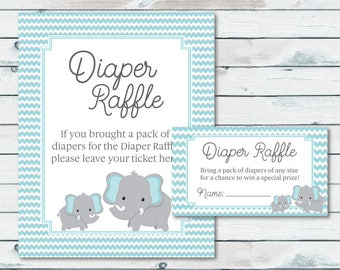 Elephant Baby Shower Diaper Raffle Tickets And Sign, Blue And Gray Elephant Diaper Raffle Inserts, Chevron Diaper Raffle Baby Shower Tickets