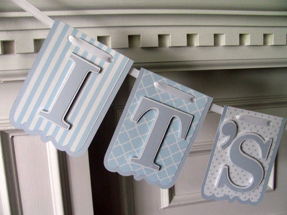 It's A Boy Banner Baby Shower, Nursery Rhyme Banner, Hey Diddle Diddle Banner, Baby Blue and White