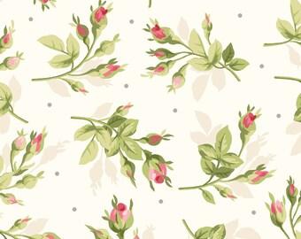 Rosebud Spray - Natural 8394-E by Maywood Studio Cotton Fabric Yardage