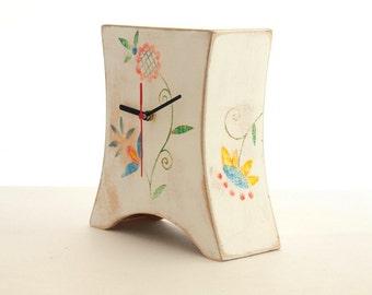Desk White Wood Clock, Mantel clock, Folk art, Unique Mantle clock, Table Wooden clock, Summer home decor, Chistmas gift,  sale
