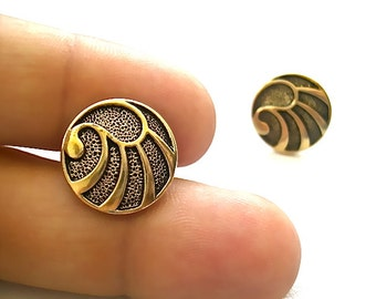Rustic Oceanic Wave Stud Earrings. FAST Shipping with Tracking for US & Canadian Buyers. Will Arrive in Nice Gift Box w/ Ribbon. Great Gift.