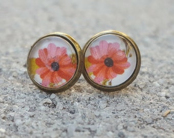 Pink Daisy Glass Brass Cabochon Stud Earrings
