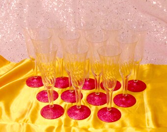 Princess Party - Pink Glitter Champagne Flutes - Set of 12
