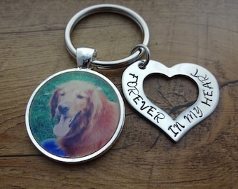 """Memory Pet Photo Hand Stamped Heart """"Forever in my heart"""" Keychain - In Loving Memory Key Chain - Sympathy Gift - Cat Dog Horse"""