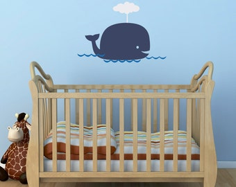Big Whale Wall Decal - Whale Decal Set with water - Nursery Wall Decor - Whale Sticker - Medium