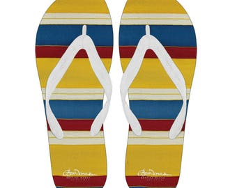 Riviera Stripe Canvas and Vinyl Flip Flops- Men's and Women's: S, M, L, XL