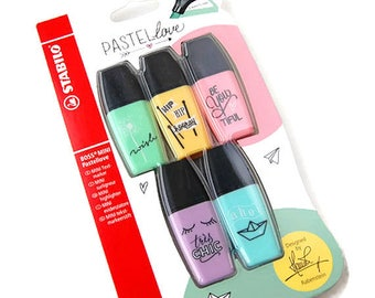 Set of 5 mini Stabilo markers, pastel markers, pastel love, mini markers, pastel highlighters, pastel text marker, planner supply