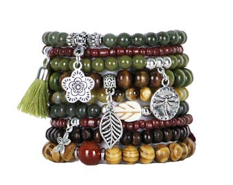 Beaded Bracelets Set of 9 Stretch Bracelets Bohemian Earth Tones Stack with Silver Tone Charms and Tassel