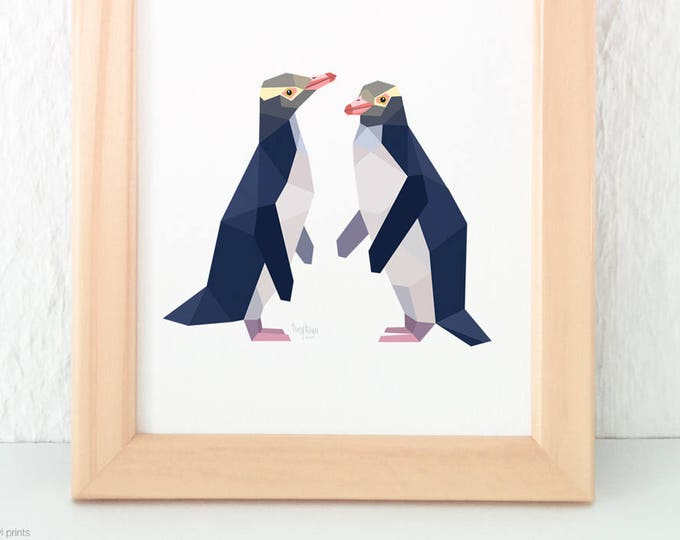 Yellow eyed penguins, Penguin pair, New Zealand bird pair, Kiwi artist, Kiwi home decor, Endangered New Zealand birds, New Zealand penguin