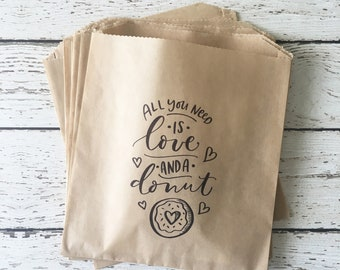 Wedding Favor Bag, Donut Favor Bag, Wedding Treat Bag, Donut Bag, All you need is love and a donut treat bag, Set of 10, 25, 50