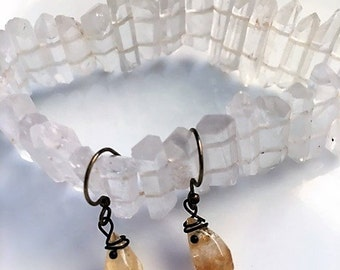 Faceted Citrine Wire Earrings
