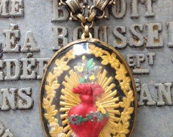 Antique French Sacred Heart Reliquary Ex Voto Necklace